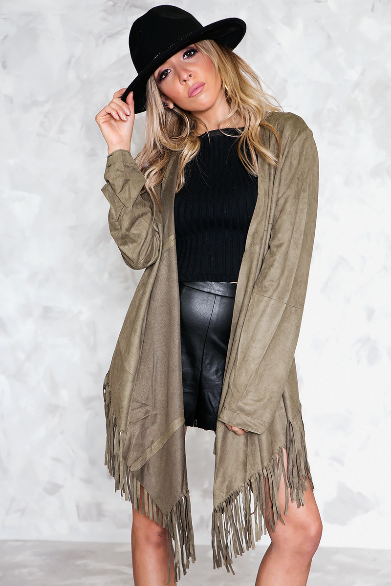 Suede Fringe Jacket - Olive /// Only 1-S Left ///