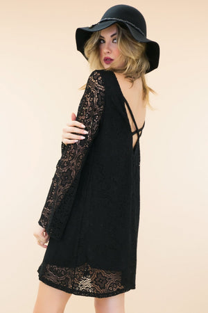 Moli Bell Sleeve Lace Dress - Black - Haute & Rebellious