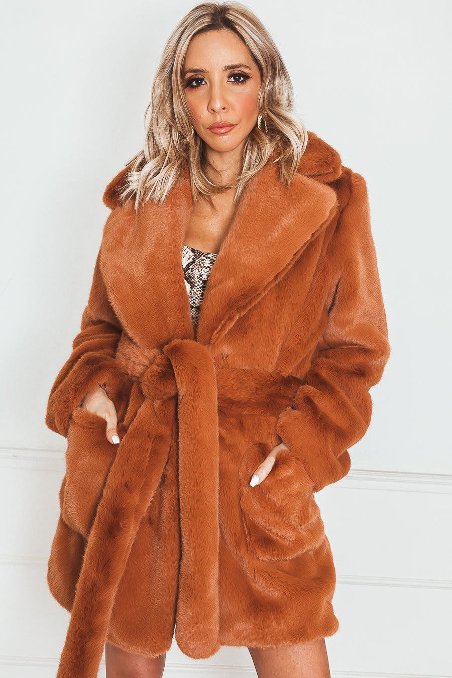 Luxe Short Faux Fur Coat in burnt orange