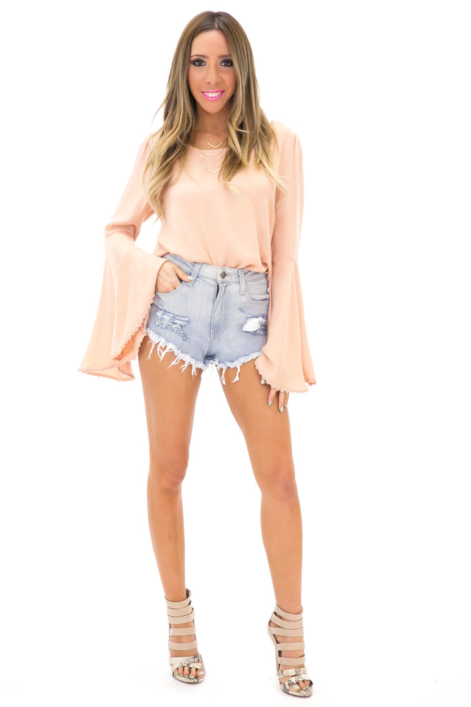 RESTERSON BELL SLEEVE TOP - Blush