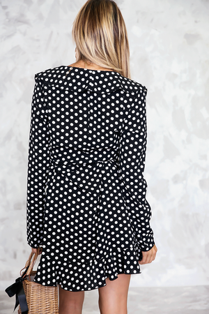 Polka Dot Ruffle Wrap Dress - Haute & Rebellious