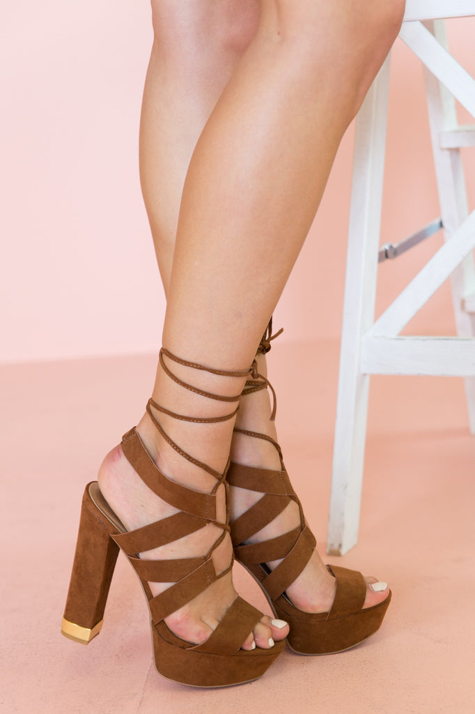 Nyla Strappy Sandal Heel - Brown - Haute & Rebellious