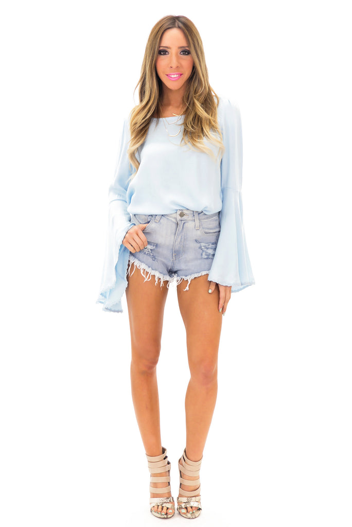 RESTERSON BELL SLEEVE TOP - Blue
