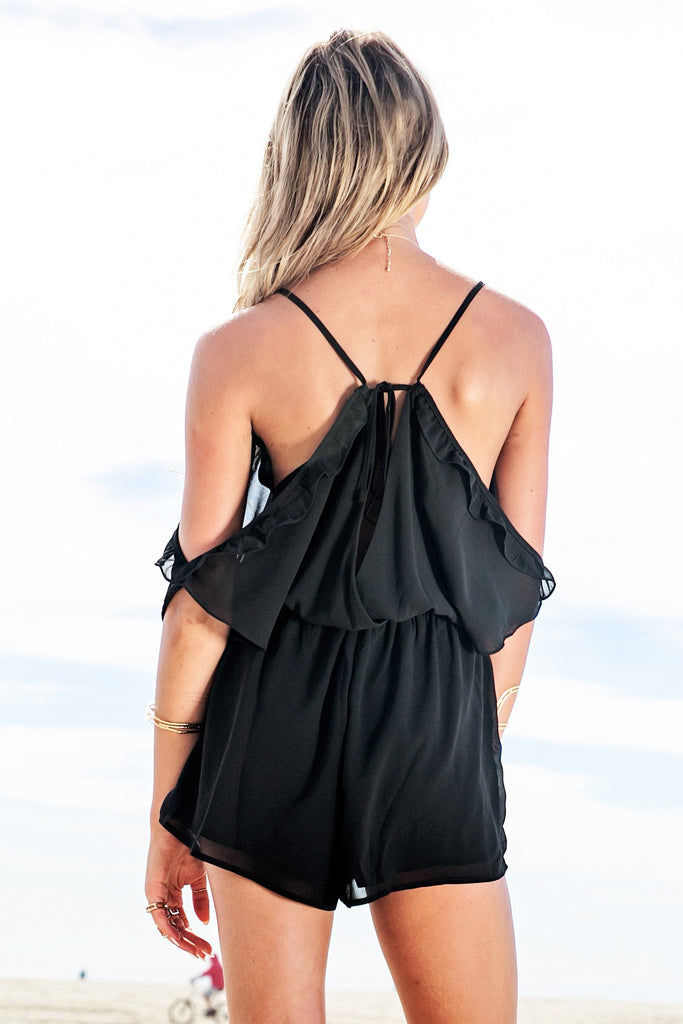 Gia Off-Shoulder Ruffle Romper - Black