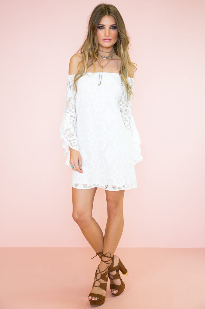 Roxy Lace Off Shoulder Bell Sleeve Dress - White