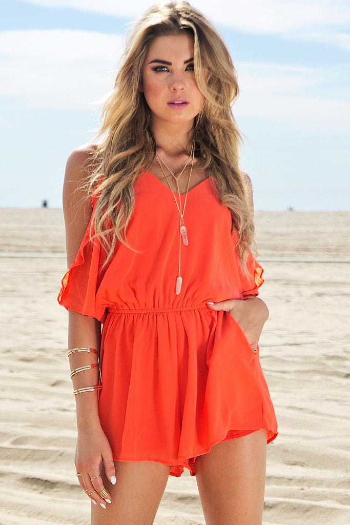 Gia Off-Shoulder Ruffle Romper - Red - Haute & Rebellious