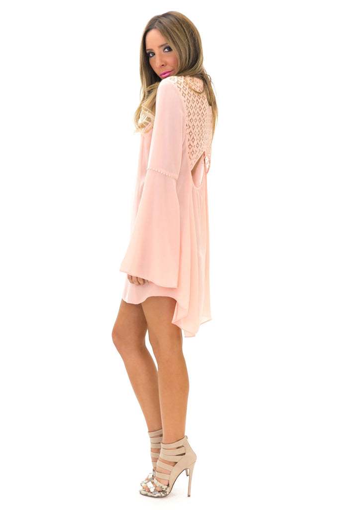LIN BELL SLEEVE LACE TUNIC TOP - Blush