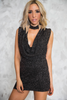 Starry Night Sparkle Plunging Cowl Neck Dress - Haute & Rebellious