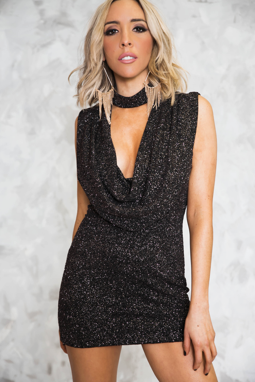 Starry Night Sparkle Plunging Cowl Neck Dress /// Only 1-L Left ///