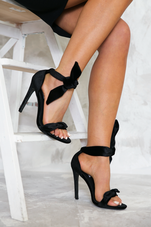Velvet Bow-Tie Open-Toe Heels - Haute & Rebellious