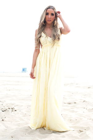 Camilla Open Back Crochet Maxi - Yellow - Haute & Rebellious