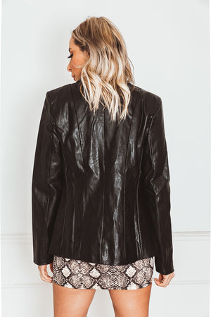 Leather Blazer in black