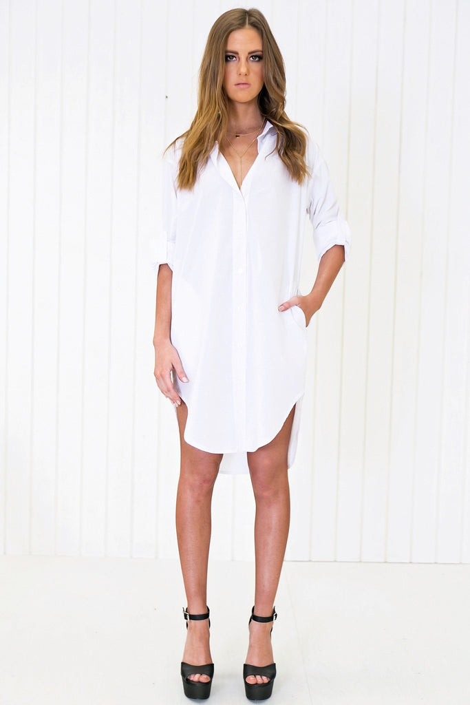 Ason Linen Long Button-Up Boyfriend Shirt