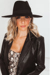 Flat Brim Hat - Black
