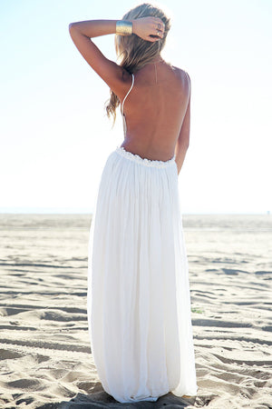 Camilla Open Back Crochet Maxi Dress - White [PRE-ORDER] - Haute & Rebellious