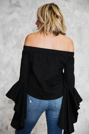 Off the Shoulder Ruffle Sleeve Top - Haute & Rebellious