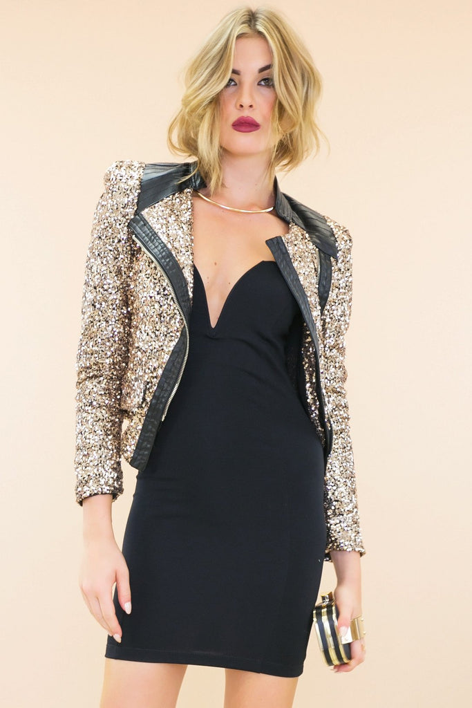 Astel Leather Contrast Gold Sequin Jacket