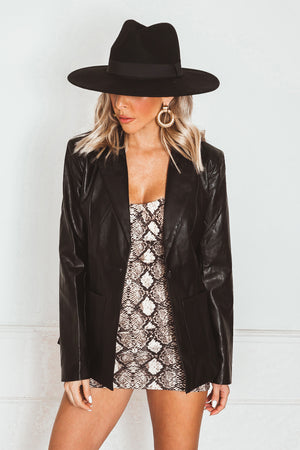 Leather Blazer - Black