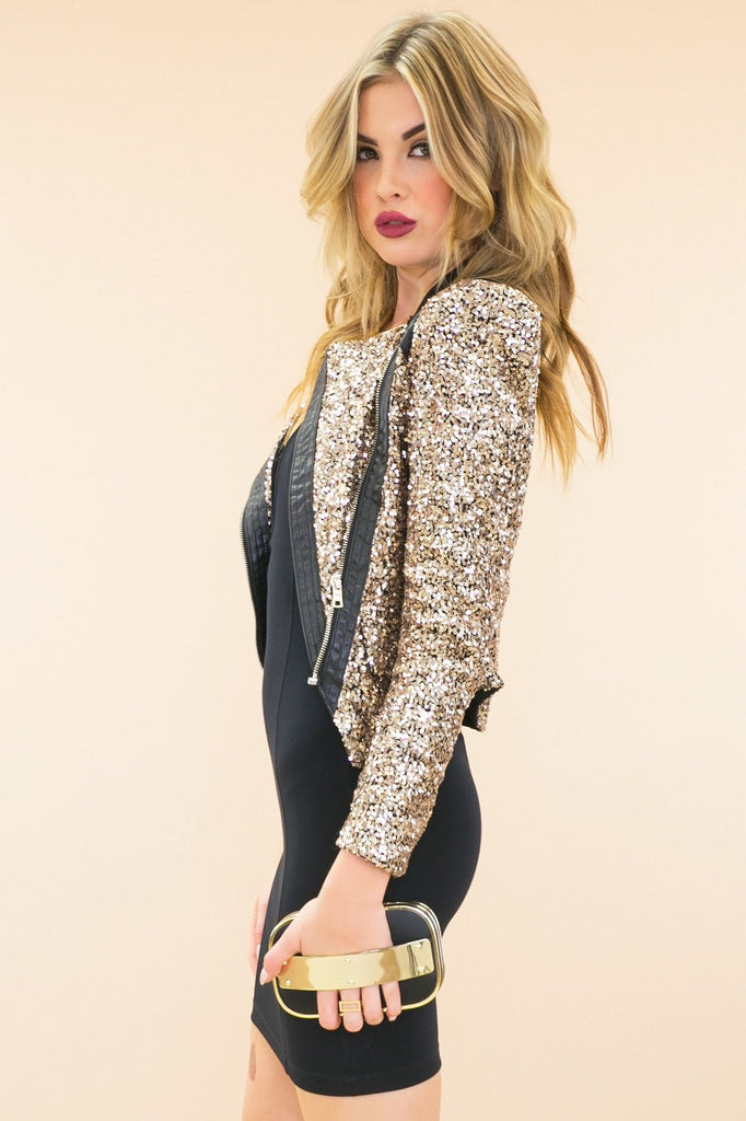 Astel Leather Contrast Gold Sequin Jacket - Haute & Rebellious