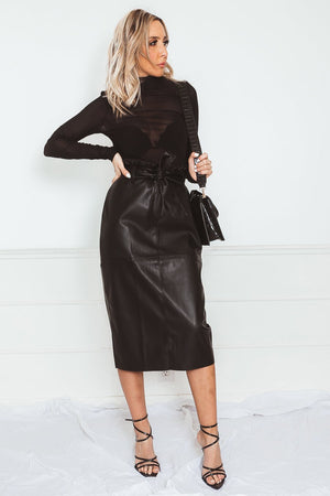 Leather Midi Skirt with Waist-Tie in black