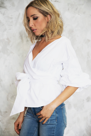 Call Me Ruched Sleeve Top - White - Haute & Rebellious