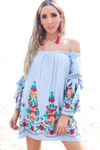 Once In A While Embroidery Off Shoulder Dress - Haute & Rebellious