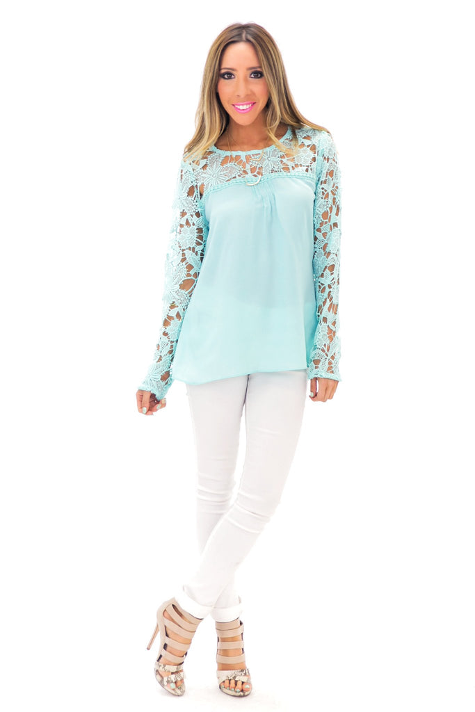 HELENA LACE CONTRAST LONG SLEEVE TOP - Mint
