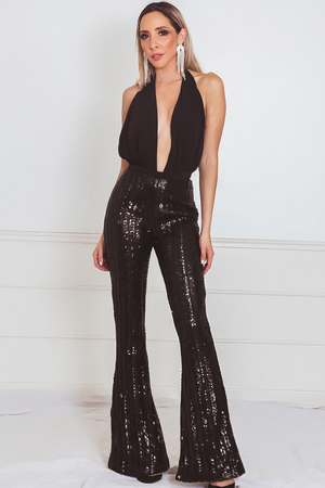 Sexy Halter Sequin Bottom Jumpsuit with Open Back
