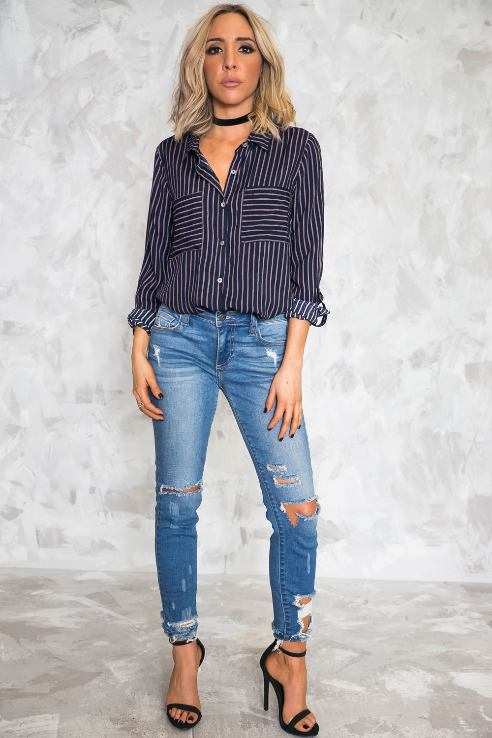 Striped Button-Up Shirt - Haute & Rebellious
