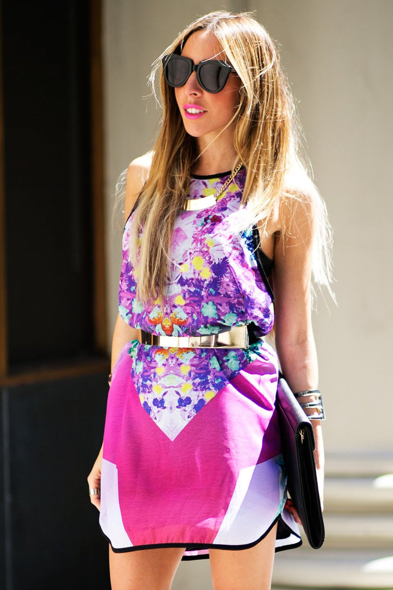 KALEIDOSCOPE PRINT DRESS - Fuchsia - Haute & Rebellious