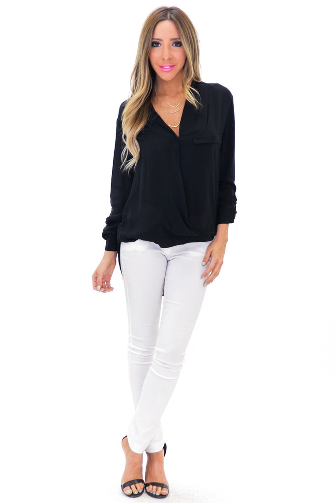 BRANDA CROSS OVER LONG SLEEVE BLOUSE - Black