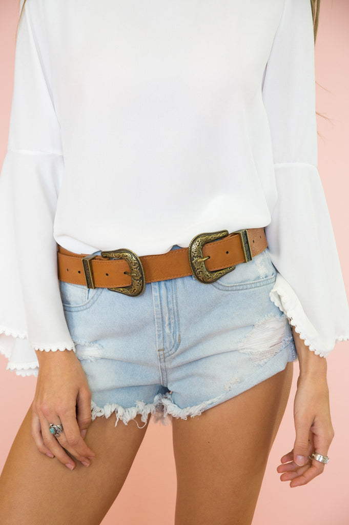 Double Buckle Belt - Brown/Gold