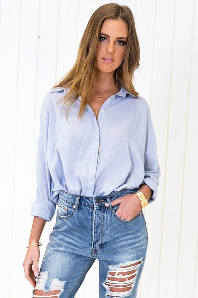 Baan Relaxed Button Shirt - Blue - Haute & Rebellious