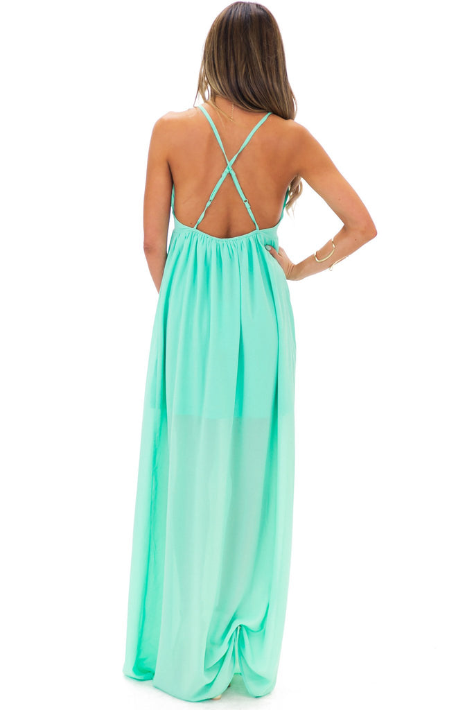 MAXWELL CHIFFON MAXI DRESS - Emerald - Haute & Rebellious