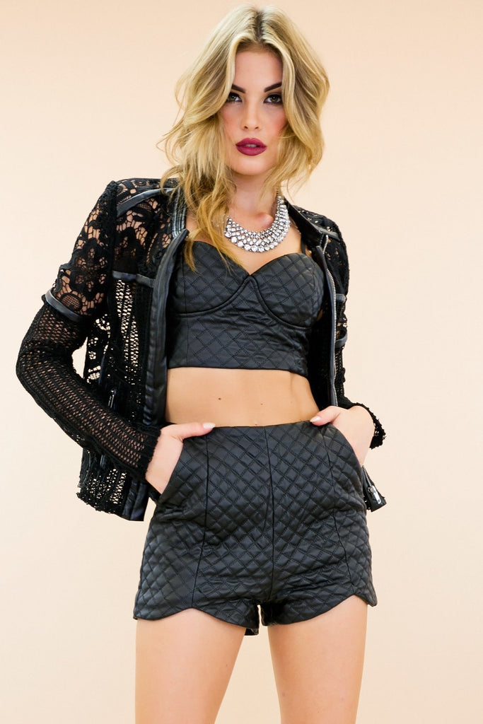 Iyaga Leather Crochet Moto Jacket