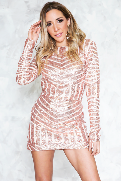 Mesh Striped Sequin Dress