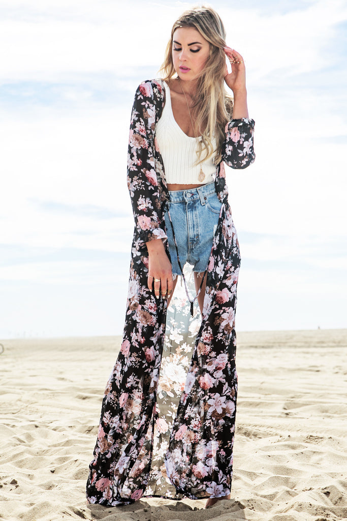 Shea Floral Sheer Button-Up Maxi