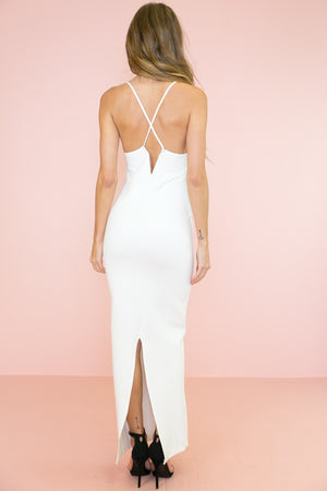 Serene Spaghetti Strap Maxi Dress - White - Haute & Rebellious
