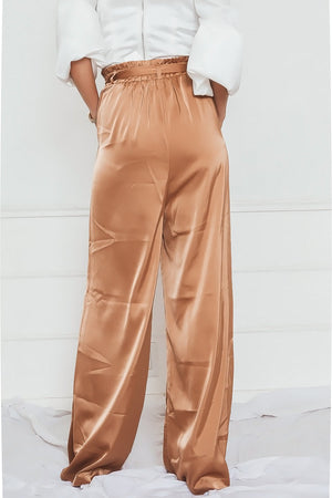 Satin Palazzo Pant with Belt in bronze