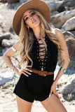 All-Tied-Up Suede Romper - Black