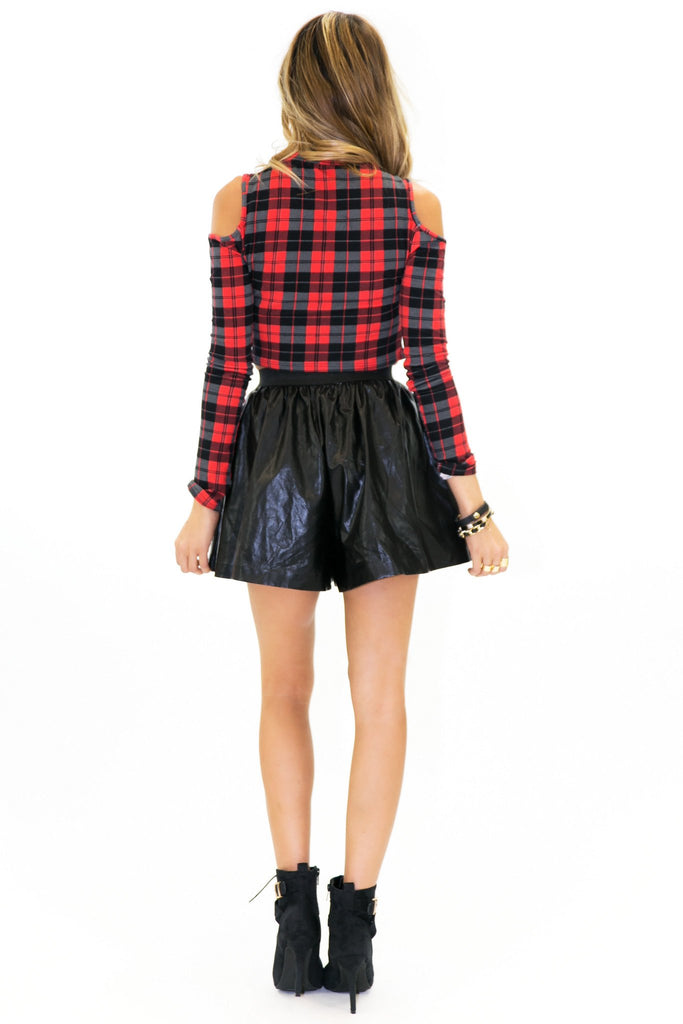 NIX PLAID SHOULDER CUTOUT CROP TOP - Haute & Rebellious