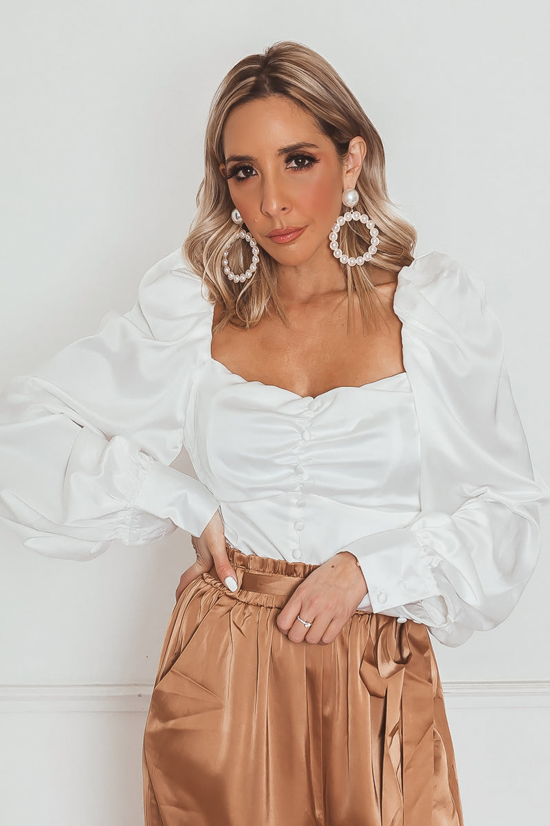 Satin Button-Up Long Sleeve Top in white