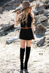 All-Tied-Up Suede Romper - Black /// ONLY 1-M LEFT/// - Haute & Rebellious