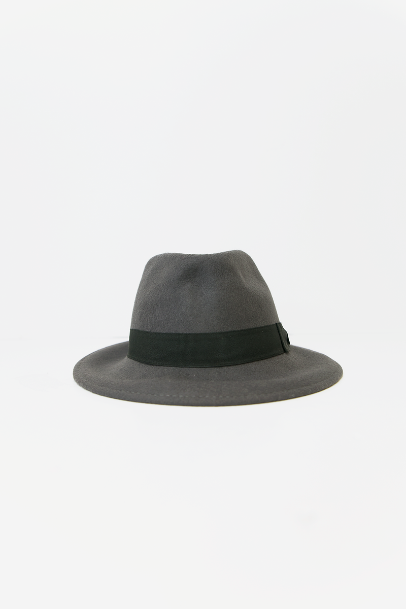 Flat Brim Fedora Hat -  Grey/Black