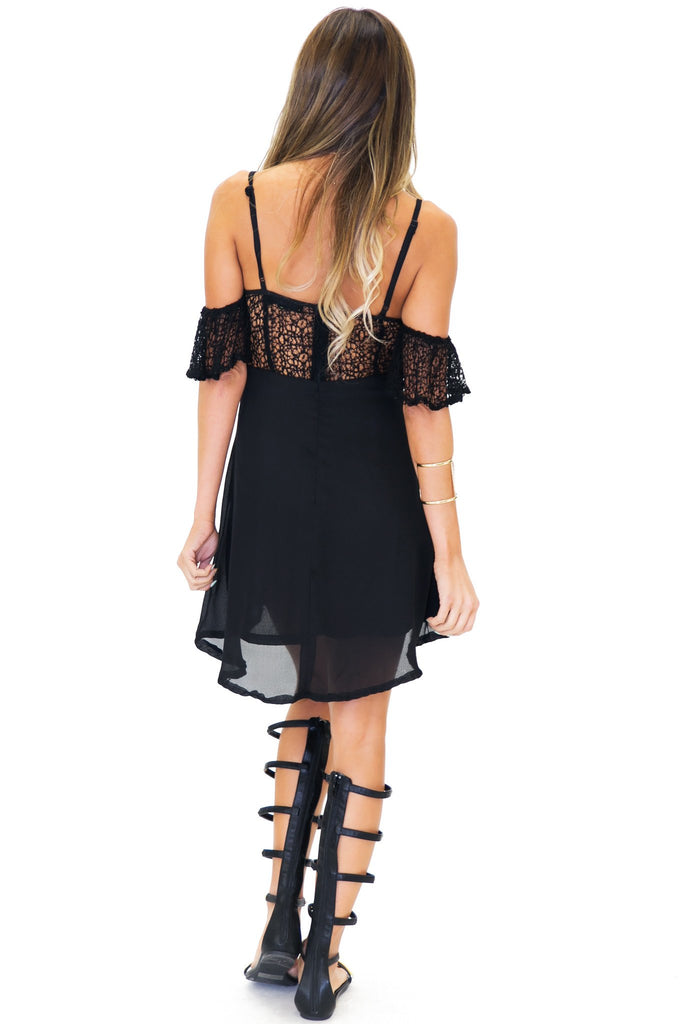 MALIA OFF SHOULDER LACE DRESS - Black