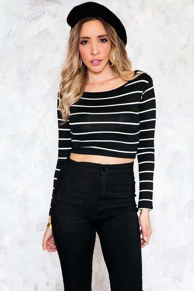 Striped Crop Top - Black