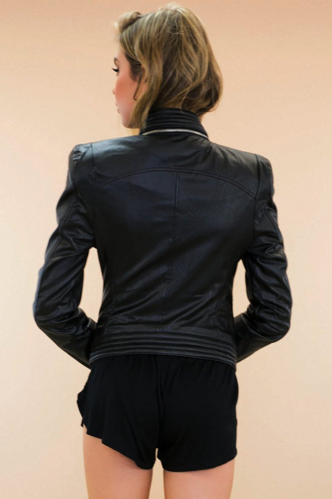 Asymmetrical Zip Leather Motorcycle Jacket