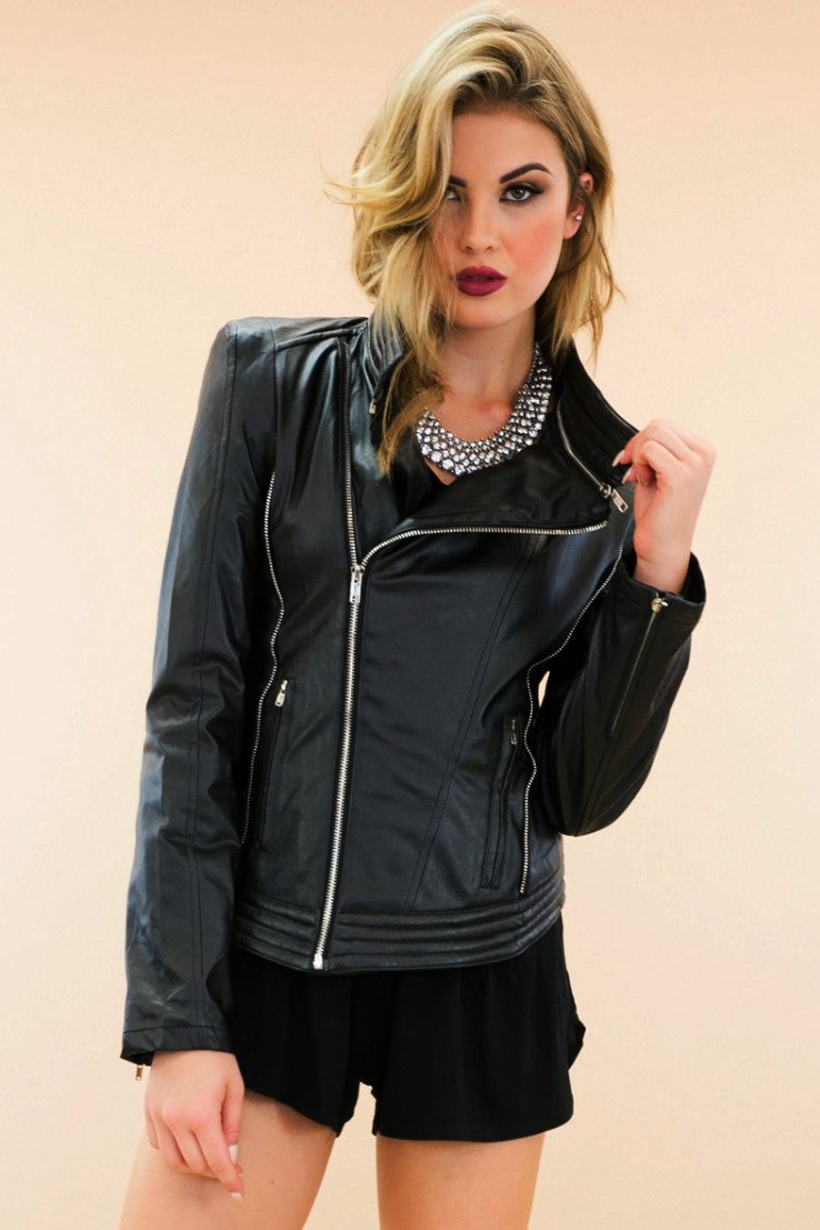 Asymmetrical Zip Leather Motorcycle Jacket - Haute & Rebellious