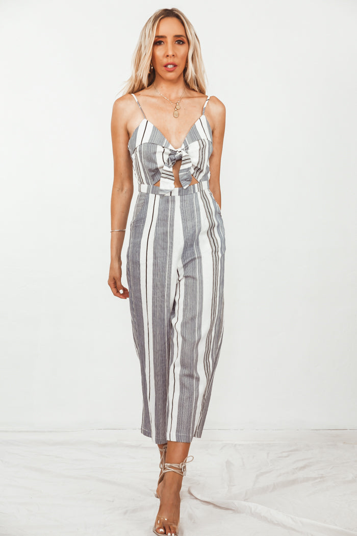 Striped Crop Jumpsuit with Tie Detail