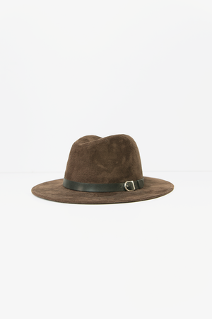 Leather Detail Fedora Hat - Brown